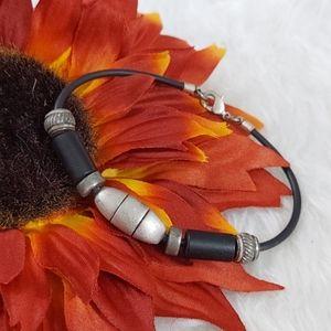 B577 Industrial Metal & Leather Cord Bracelet